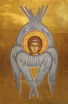 One of the many winged Cherubim surrounding God and symbolized in iconography above the Holy Table