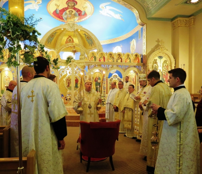 Bishop Kurt Burnette bestows initial blessing upon faithful