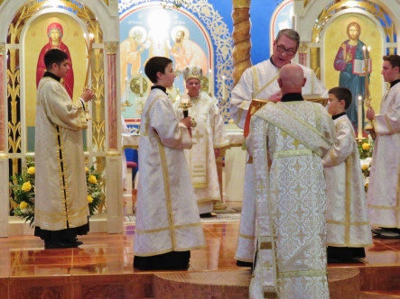 Reading of Gospel by Deacon Larry assisted by Deacon Basil
