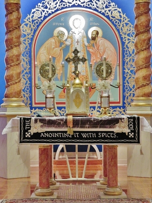 Holy Table with Burial Shroud, Christ the High Priest Icon on Sanctuary wall