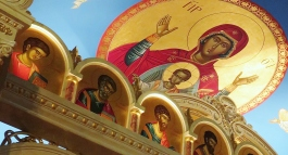 Apostles in our Midst: The holy apostles look towards the congregation of faithful gathered for worship, while above on the ceiling of the sanctuary is the Icon of the Sign. Together they welcome all in the Kingdom of God and bear witness to Christ Our Living God.