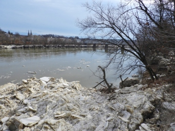 View of the Susquehanna River, West Pittston, from the Spc. Dale Kridlo Bridge (Fort Jenkins bridge) looking south after ice on river moved downstream. St. John the Evangelist Church, Pittston, Pennsylvania (distant left).