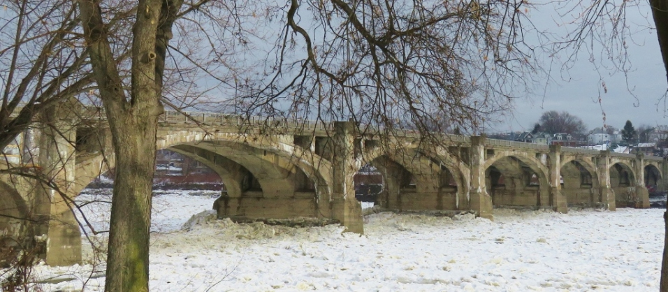 Ice under the Spc. Dale Kridlo (Fort Jenkins) bridge connecting Pittston and West Pittston, Pennsylvania.