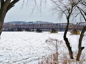Railroad bridge seen from Susquehanna Avenue, West Pittston on January 21, 2018.
