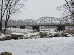 Firefighters' Memorial (Water Street) Bridge, Greater Pittston landmark, with wall of ice blocks in view.