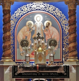 View of Holy Table, Icon of Christ the High Priest with Saints Peter and Paul