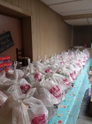 A small sample of the hundreds of dinners prepared by food prep and kitchen volunteers